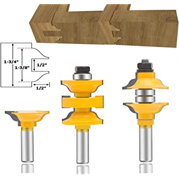 Leatbuy Router Bit Set 1 2 Inch Shank 3 Pcs Extended Tenon Entry Door Rail And Stile Router Bit Set Woodworking Milling Cutter Tools Carbide Cutter Cnc Router Grooving Mill Tool Amazon Com