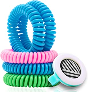 Mosquito Repellent Coil Bracelets for Kids/Adults, 13 Piece Economy Pack, Bonus Clip, Lasts 10 Days, Non-Toxic, Individually Wrapped, Swim-Friendly, Insect Bite Protection, Wrist/Ankle Band