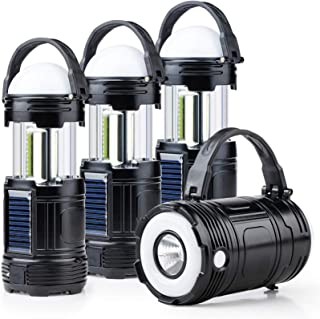 4 Pack Black 5 in 1 Solar USB Rechargeable 3 AA Power Brightest COB LED Camping Lantern with S Charging for Device, Waterp...