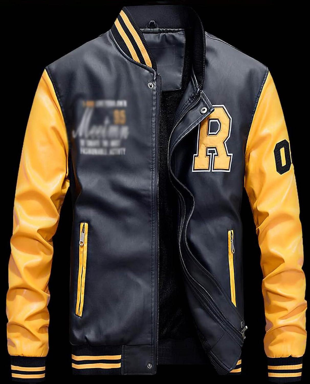 TKTTBD Men's Motorcycle Leather Jacket Pilot Trend Coat Baseball Collar Motorcycle Clothing Leather Jacket Men's Casual PU Leather Jacket C,XXL