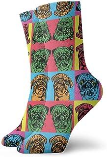 Niños Niñas Locos Divertidos Retro Pug Patrón de color de dibujos animados Calcetines Calcetines lindos del vestido de la novedad