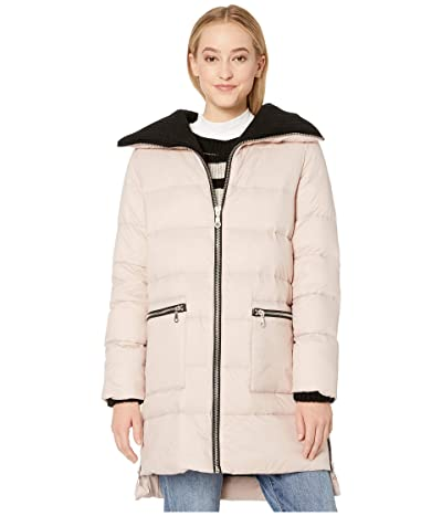 BB Dakota Cold Snap Down Filled Knit Collar Puffer Coat (Parchment) Women