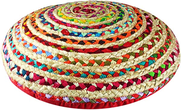 Cotton Craft Floor Pillow Cover 24 Round With Zipper Jute Cotton Multi Chindi Braided Material Hand Woven From Multi Color Vibrant Rags Cover Only