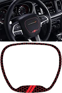Steering Wheel Emblem Kit Compatible with 2015-2019 Dodge Charger | 3D Domed Badge Overlay Decal Trim Cover Sticker Set | Charger Interior Accessories
