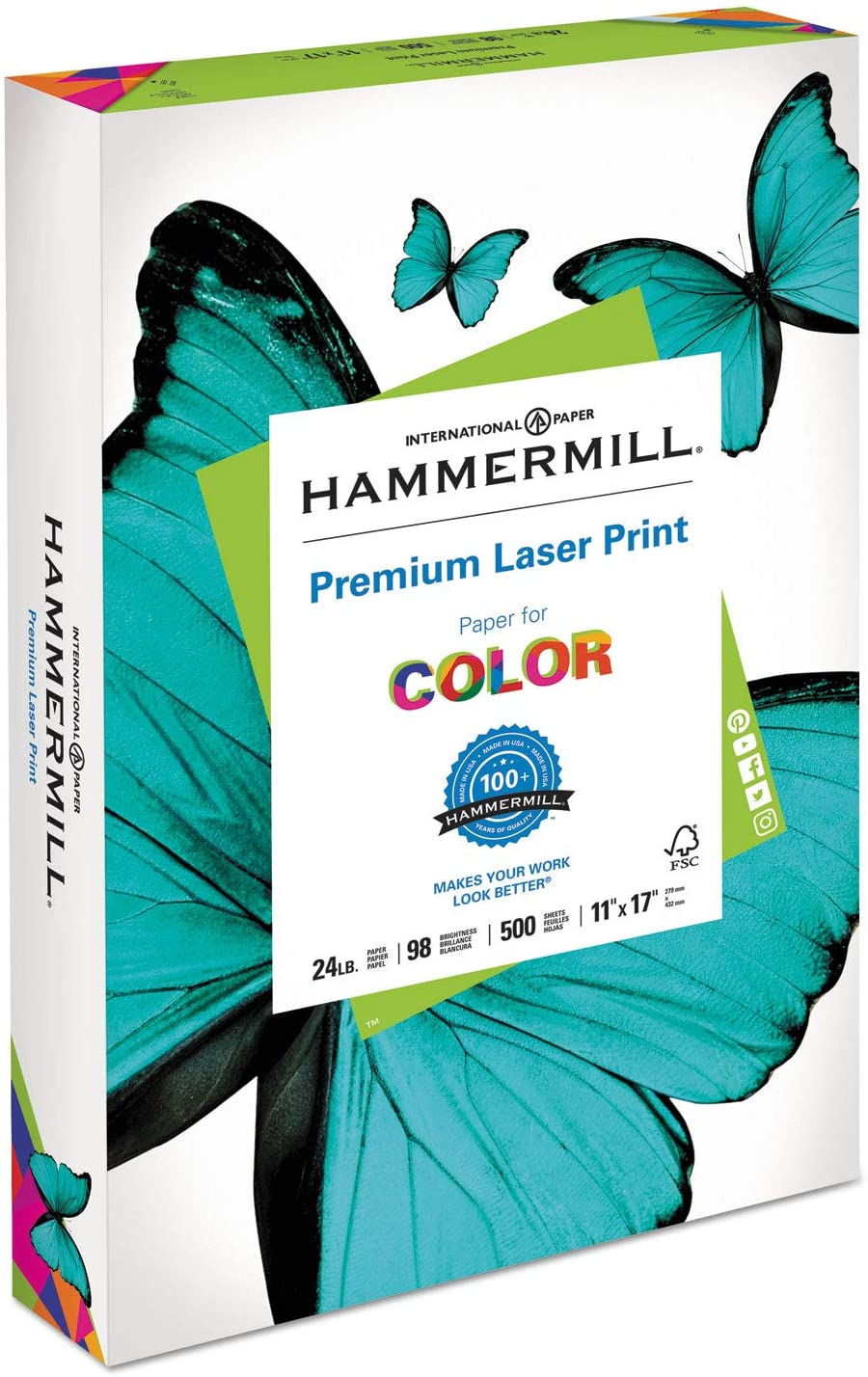 Metropolitan Office Products Laser Print Office Paper, 98 Brightness, 24lb, 11 x 17, White, 500 Sheets/Ream : Office Products