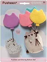GUND Pusheen and Stormy with Balloons Plush Stuffed Animals, Set of 2, Gray