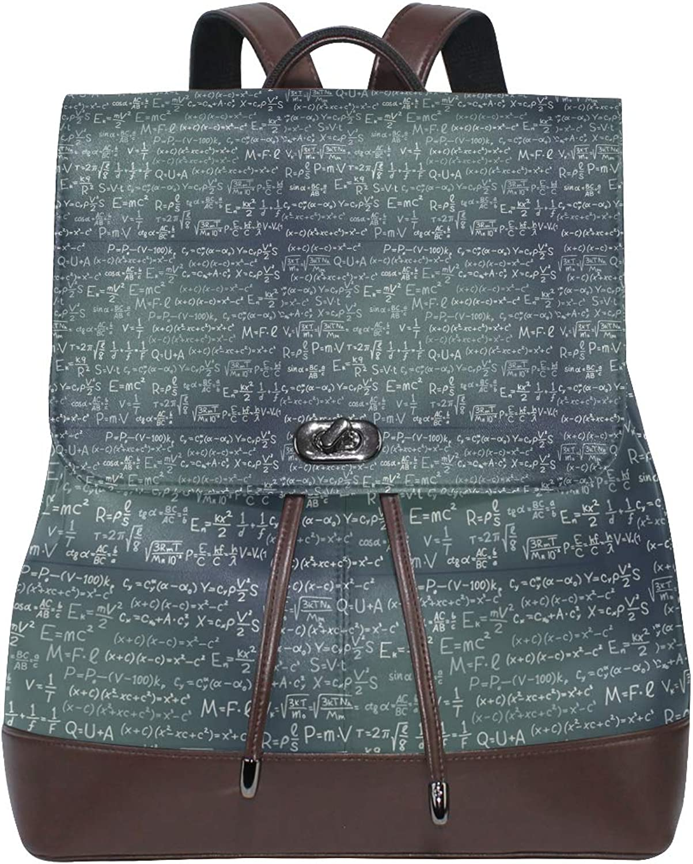 Leather Math Scientific Formula Algebra Backpack Daypack Bag Women