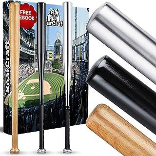 BearCraft Bate de béisbol de Madera o Aluminio con **e-Book Gratuito** 79cm (31'') de Largo – Ideal para Defensa Personal