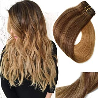 Clip In Hair Extensions Double Weft Brazilian Hair 120g 7pcs Medium Brown Fading to Golden Brown and Strawberry Blonde Highlighted Full Head Silky Straight 100% Human Hair Clip In Extensions 22 Inch