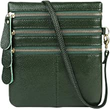 Cynure Women's Pebble Leather Crossbody Bag Small Zip Pocket Cell Phone Purse
