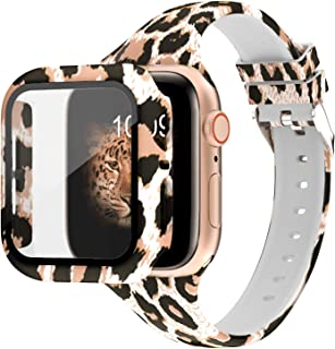 DABAOZA Compatible for Apple Watch Band 44mm with Case, Leopard Silicone Band Fadeless Pattern Thin Strap with Full Around Screen Protector Bumper Case Cover for iWatch SE Series 6 5 4 (Leopard,44mm)