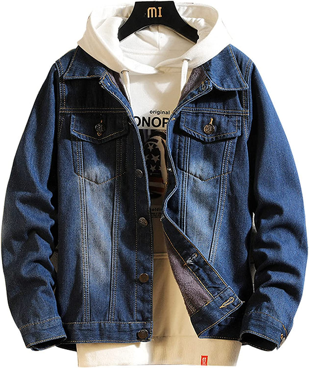 Men's Denim Thick Jacket with Button Warm Sherpa Lined Motorcycle Fashion Coat Top Hip Hop Outwear Winter Jacket