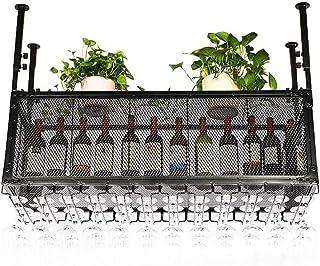 Armoire à vin Organisation de rangement de cuisine Casiers à vin de plafond de style vintage | Porte-gobelet porte-bouteil...