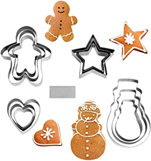 NEWLINE NY 13 Pieces Cookie Mold Biscut Pastry Cutter Set Man Star Heart Snowman & A Cutter Blade Stainless Steel