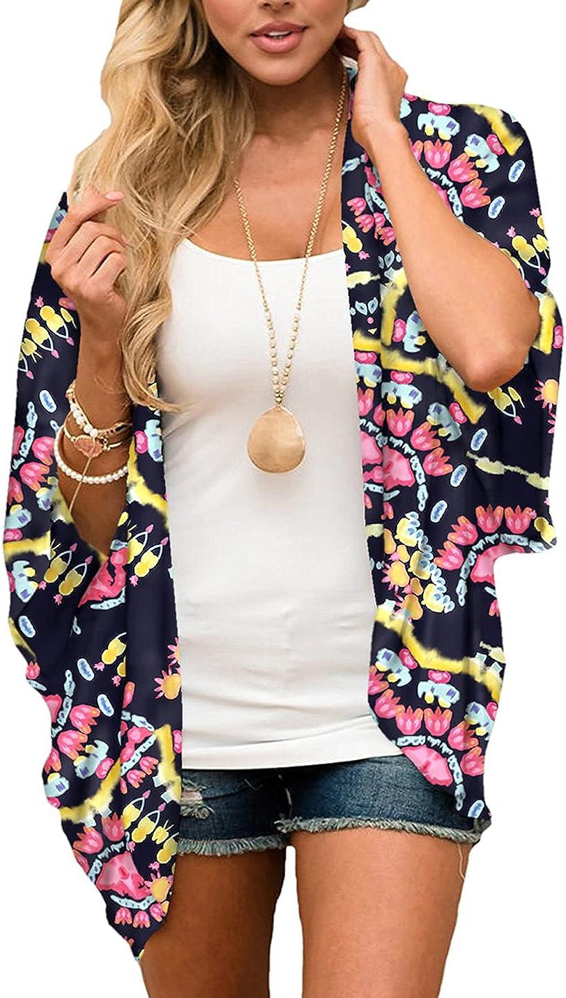 SeekMe Women's Lounge Batwing Sleeves Tie Dye Sheer Beach Open Front Cover Ups Tops