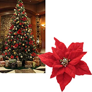 kmkaren Christmas Flowers Red Poinsettia Christmas Tree Ornaments with hook-4pcs/pack