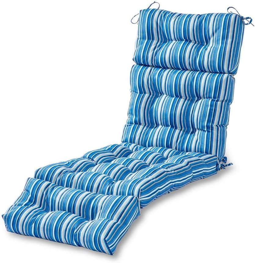 Greendale Home Fashions 72-Inch Patio Chaise Indoor/Outdoor Lounger Cushion, Sapphire Stripe + Freebies