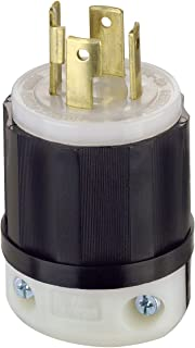 Leviton 2711 30 Amp, 125/250 Volt, NEMA L14-30P, 3P, 4W, Locking Plug, Industrial Grade, Grounding - Black-White