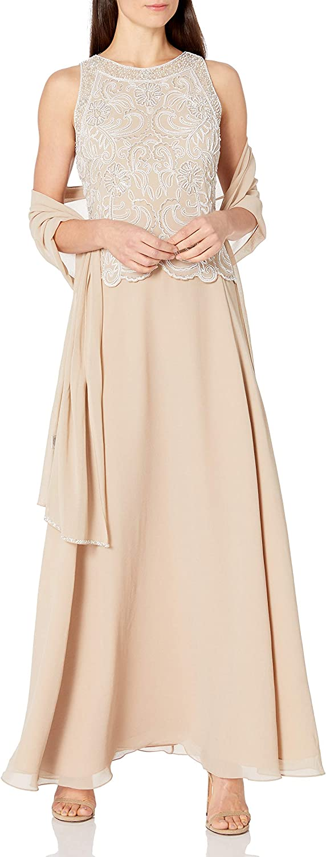 J Kara Women's Sleeveless Scallop Long Beaded Dress W/Scarf