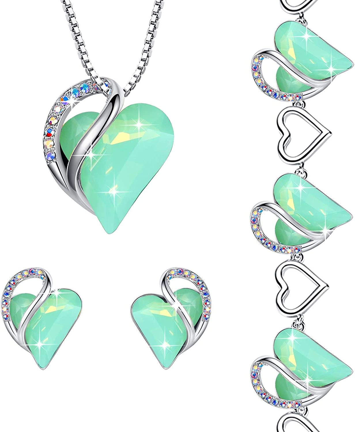 Leafael Infinity Love Crystal Heart Jade Special Campaign NEW before selling ☆ Set Jewelry Bundle Opal