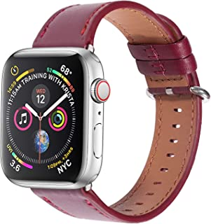 Soon Compatible Apple Watch Band 38mm 40mm, Genuine Leather Classic Strap Replacement fit iWatch Series 4 3 2 1 Sports & Edition - Wine Red
