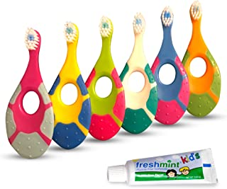 Sponsored Ad - Baby Toothbrush for Infants & Toddlers 0-2 Years Old (6 Pack) | Bonus Fluoride Free Toothpaste | Teething H...