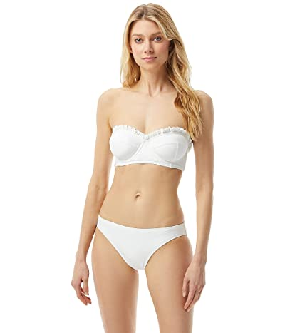 MICHAEL Michael Kors Iconic Solids Ruffled Underwire Bandeau Top with Removable Strap