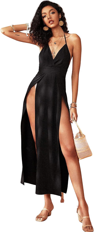 MakeMeChic Women's Sexy Sleeveless Spaghetti Strap V Neck Cocktail Split Long Dress