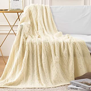 """jinchan Throw Blanket Ivory Lightweight Cable Knit Sweater Style Year Round Gift Indoor Outdoor Travel Accent Throw for Sofa Comforter Couch Bed Recliner Living Room Bedroom Decor 50"""" x 60"""""""