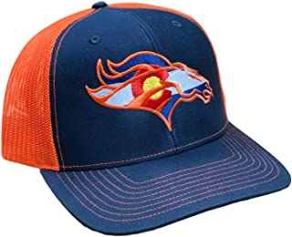 Colorado Flag Bronco. Snapback Hat Curved Bill Trucker Mesh Back (Navy/Orange)
