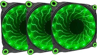 APEVIA 312L-DGN 120mm Silent Black Case Fan with 15 x Green LEDs & 8 x Anti-Vibration Rubber Pads (3 Pk)