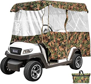 Happybuy Golf Cart Cover 4-Sided Golf Cart Enclosure Club Car EZGO Yamaha Portable Premium Driving Enclosure for 4 Passengers roof up to 79