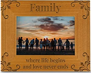 Family Where Life Begins And Love Never Ends, Engraved Natural Wood Photo Frame Fits a 4x6 Horizontal Portrait, Frame for Family, Dad, Mom, Grandparents, Father's Day, Mother's Day, Birthday