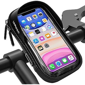 LEMEGO Support Téléphone Vélo Etanche, Sacoche Vélo Guidon Cadre Housse de Téléphone Rotatif pour Vélo VTT Moto Scooter avec Espace Rangement Ecran Tactile, 6,5 Pouces