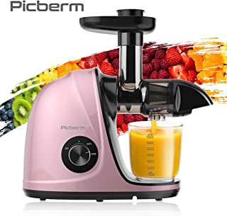 Juicer Machines, Picberm Slow Masticating Juicer Extractor with Quiet Motor Easy to Clean, BPA-Free Cold Press Anti-blocking Juicer with Peeler, Brush & Recipes for Fruits and Vegetables, Rose Gold