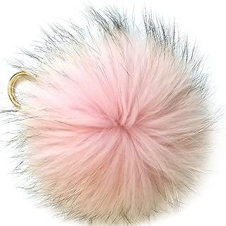6'' Fluffy Raccoon Fur Ball Pom Pom Keychain Womens Bag Charms Key Chain
