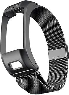 ANCOOL Compatible with Garmin Vivosmart HR+ Bands,Accessory Stainless Steel Replacement Metal Loop BraceletWristband for Garmin Vivosmart HR+(NOT for Vivosmart HR)-Large,Black