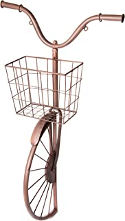 Metal Bicycle Sculpture with Basket, Country Rustic Decorative Wall Planter, Storage & Art Décor Centerpiece, 17