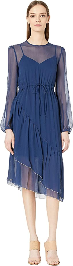 Silk Crepon Long Sleeve Dress