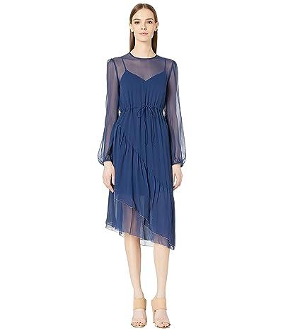 See by Chloe Silk Crepon Long Sleeve Dress (Obscure Blue) Women