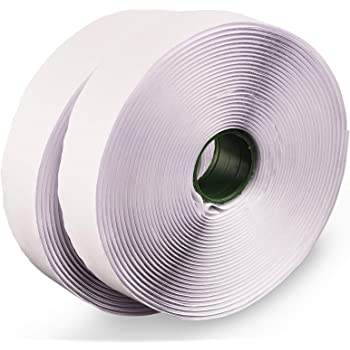 LLPT Hook and Loop Tape Color White 1 Inch x 23 Feet Each Roll Heavy Duty Adhesive Hook Loop Strip Mounting Tape for Indoor and Outdoor (HTW130)