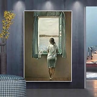 Kvinnan vid fönstret canvasmålning Salvador Dali affisch och tryck väggkonst bilder för vardagsrum väggdekoration 45 x 60 ...