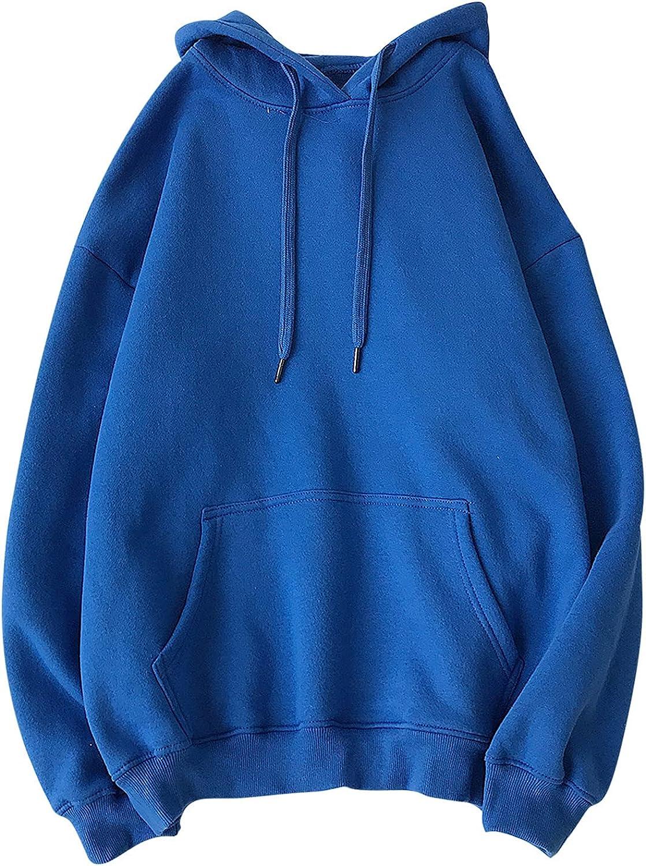 Bravetoshop 2021 Unisex Hoodies, Men Women Solid Color Regular Fit Casual Workout Pullover Sweatshirt