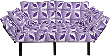 Lunarable Geometric Futon Couch, Curved Stripes Ornamental Arrangement Violet Tones Intertwined Lines, Daybed with Metal Fram