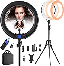 """Ring Light with Wireless Remote and iPad Holder, Pixel 19"""" Bi-Color LCD Display Ring Light with Stand and Selfie Remote, 55W 3000-5800K CRI=97 Light Ring for Live Stream Self-Portrait Video Shooting"""