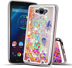 for Motorola Droid Turbo, Droid Turbo 1st Generation, XT1254 Cute Liquid Glitter Flowing Sparkle Hearts Floral Fairy Dust Shockproof Protective TPU Case [Free Emoji Keychain!] (Silver)