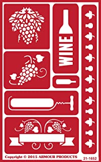 Armour Products 21-1652 Over N Over Glass Etching Stencil, 5-Inch by 8-Inch, Wine Time