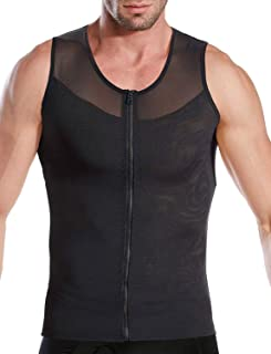 NonEcho Men Shapewear Compression Shirts Undershirts Slimming Body Shaper Waist Trainer Tank Top Vest with Zipper