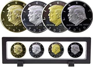 2020 Donald Trump Gold Coin Set with Display Case, Gold & Silver Plated Collectible Coin of 45th President of The United States