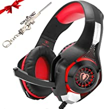 Gaming Headset for New Xbox One PS4 PC Laptop Tablet with Mic, Over Ear Headphones, Noise Canceling, Stereo Bass Surround for Kids Mac Smartphones Cellphone (red)